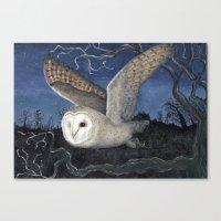 Barn Owl At Night Canvas Print