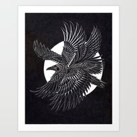 Moonlight Raven Art Print