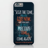 "iPhone & iPod Case featuring ""Live now; make now always the most precious time. Now will never come again"" Captain Picard by Elizabeth Cakovan"