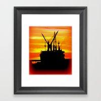 Silhouette of a Ship Framed Art Print