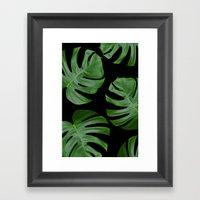 Monstera Leaves on Black Framed Art Print