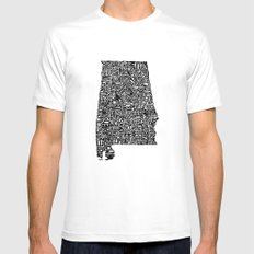 Typographic Alabama SMALL Mens Fitted Tee White