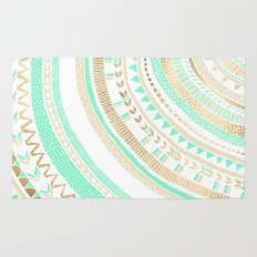 Mint + Gold Tribal Rug