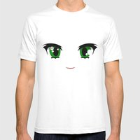 Anime Face Mens Fitted Tee White SMALL