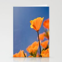 Poppies on Blue Stationery Cards