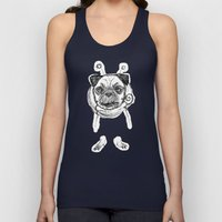Pug in Space Silly Doodle Unisex Tank Top