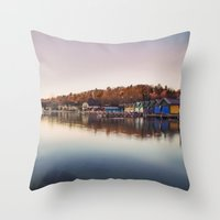 Dawn at the lake Throw Pillow