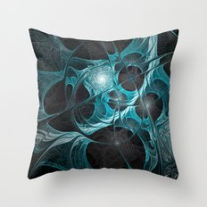 Turquoise Fractal Throw Pillow