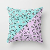 Burgers Pizza Fries in Pastel  Throw Pillow