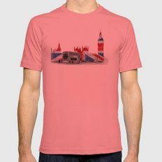 Big Ben, London Bus and Union Jack Flag Mens Fitted Tee Pomegranate SMALL
