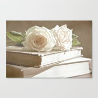Roses And Books Canvas Print
