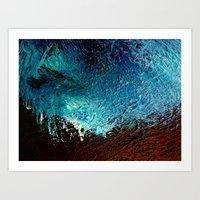 Abstract Blue, White And… Art Print