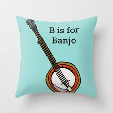 B is for Banjo, typed. Throw Pillow
