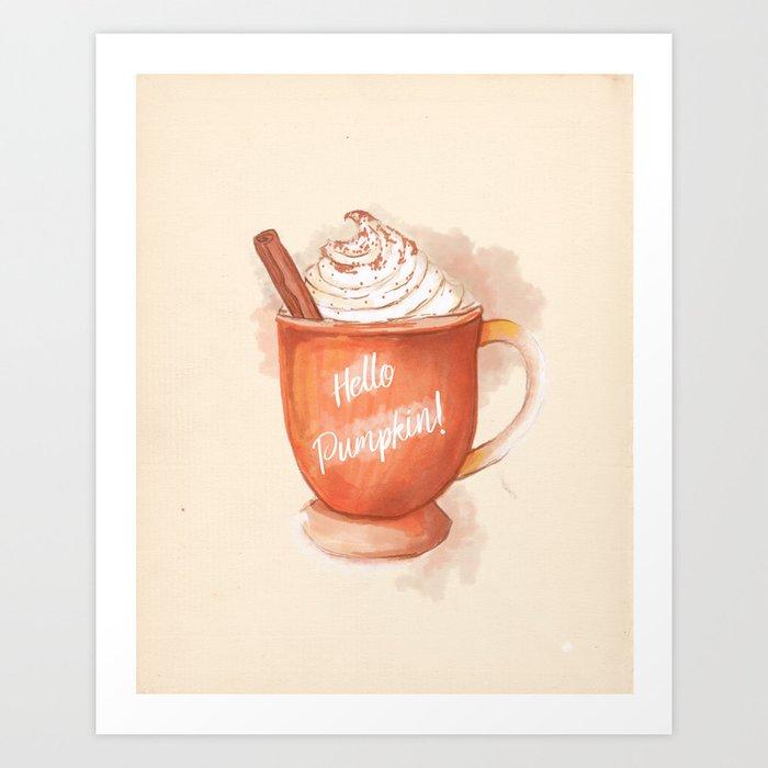 Sunday's Society6 | Hello pumpkin spice coffee painting art print