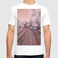 Train Track In Culpeper Mens Fitted Tee White SMALL