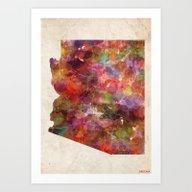 Arizona Map Art Print