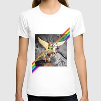 Space Art Unicorn Womens Fitted Tee White SMALL