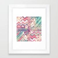 Retro Pink Turquoise Flo… Framed Art Print