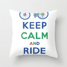 Keep Calm and Ride On Throw Pillow