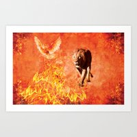 Lion Rescuing Cub From T… Art Print