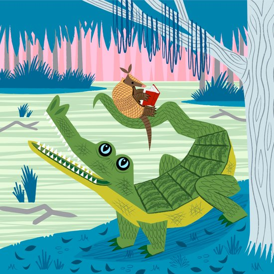 The Alligator and The Armadillo Art Print