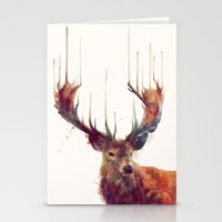 friends Stationery Cards featuring Red Deer // Stag by Amy Hamilton