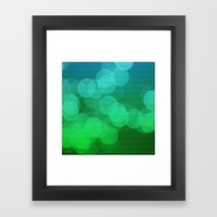 Blue Green Ombre Bokeh Framed Art Print
