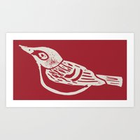 Black Capped Vireo - Han… Art Print