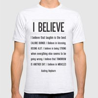 I BELIEVE - Audrey Hepburn Mens Fitted Tee Ash Grey SMALL