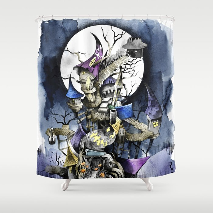 the nightmare before christmas shower curtain by sandra ink society6. Black Bedroom Furniture Sets. Home Design Ideas