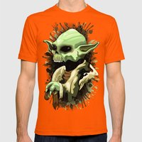 Skull Yoda Jedi Master  Mens Fitted Tee Orange SMALL