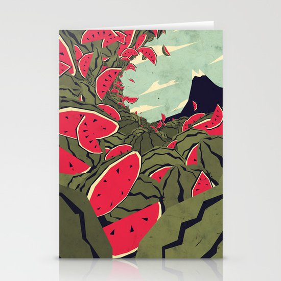 Watermelon surf dream Stationery Card