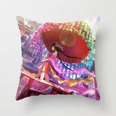 Niji Karakasa (Rainbow Umbrella) Throw Pillow