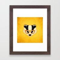 Hipster Badger: Gold Framed Art Print