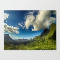 Moutains and clouds in French Polynesia Canvas Print