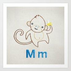 M Monkey Art Print