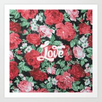 Red Pink Roses Chic Love… Art Print