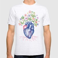 Strawberry Heart  Mens Fitted Tee Ash Grey SMALL