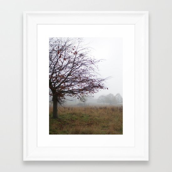 Tree in the mist Framed Art Print