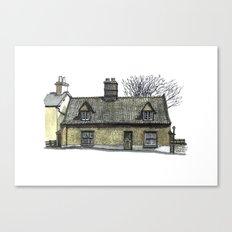English Pebble-dashed Cottage Canvas Print