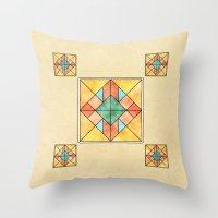 Watercolored Tiles Throw Pillow