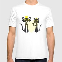 Cat Romance Mens Fitted Tee White SMALL