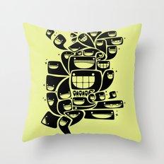 Happy Squiggles - 1-Bit Oddity - Black Version Throw Pillow
