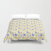 Yellow and Blue Flowers Duvet Cover