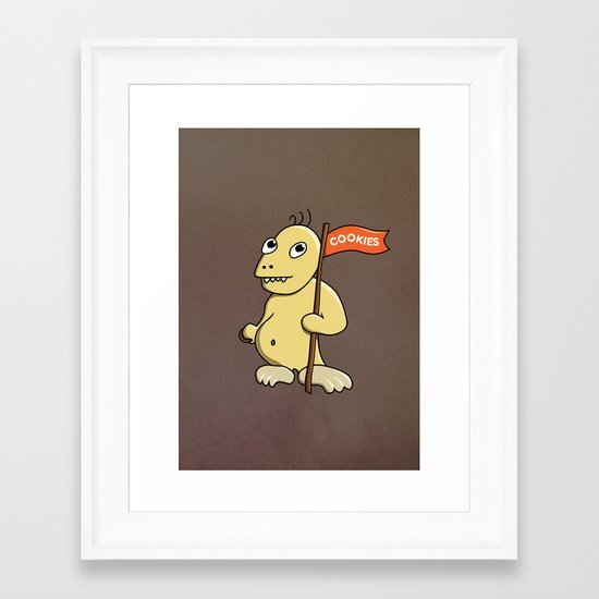 Funny Cartoon Cookie Monster Framed Art Print
