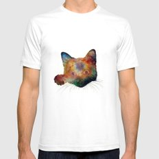 Nebula Cat White SMALL Mens Fitted Tee