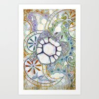 Sea Turtle Paisley  Art Print