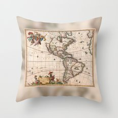 1658 Visscher Map of North America & South America (with 2015 enhancements) Throw Pillow