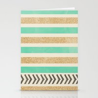 MINT AND GOLD STRIPES AN… Stationery Cards