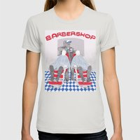 Barbershop Womens Fitted Tee Silver SMALL